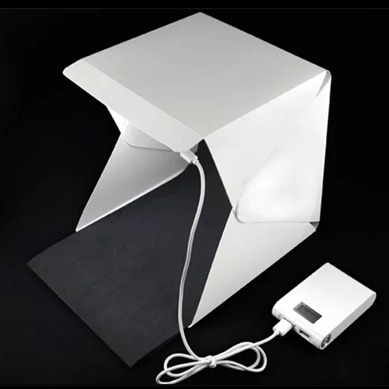 цена на Mini Folding Studio portable photography studio Mini foldable softbox with USB LED light Desktop black white backgound soft