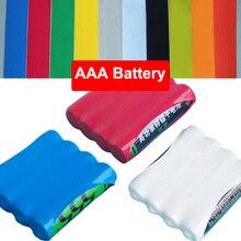 3 М Желтый Зеленый Синий Ясно 55 мм Ширина 35 мм Диаметр 4 шт. Пакет AAA Батареи Изоляции ПВХ Тепла термоусадочные Трубки Термоусадочные Трубки