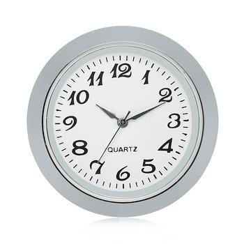 """Mini reloj con movimiento de cuarzo redondo 1 7/16 """"(35mm) reloj en miniatura compatible con esfera blanca bisel plateado números árabes"""
