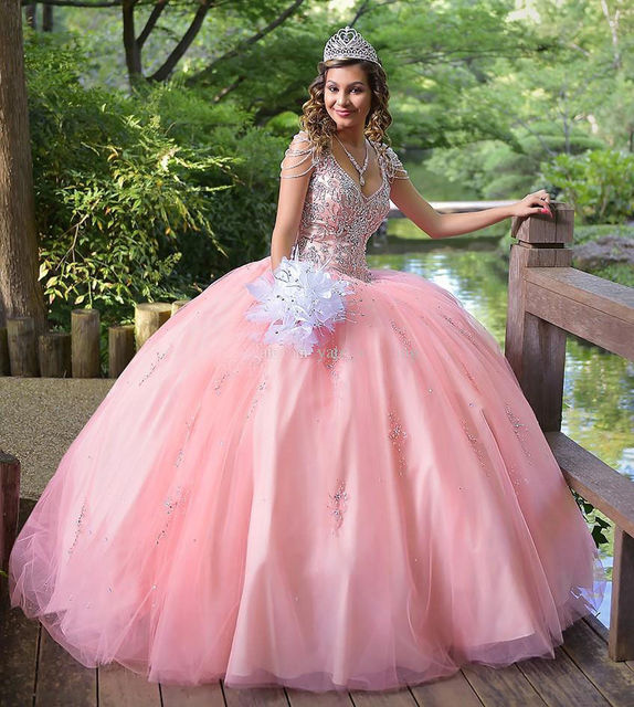 9c03f1c92 Pink beading quinceanera dresses ball gown Vestidos de 15 anos Cheap quinceanera  gowns Sweet 16 dresses Vestidos de quince anos