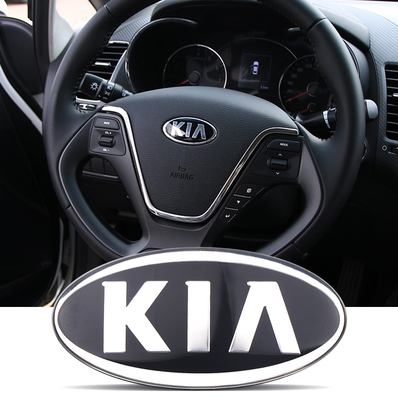 8.5x4.3cm 3D sticker Car Front Rear Steering Wheel Badge Emblem For KIA OPTIMA K2/K3/K4/K5 Venga Car Accessories-in Car Stickers from Automobiles & Motorcycles