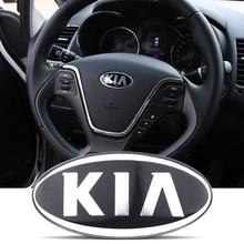 8.5x4.3cm 3D sticker Car Front Rear Steering Wheel Badge Emblem For KIA OPTIMA K2/K3/K4/K5 Venga Car Accessories 7pcs 3d carbon fiber chrome car styling speed emblems badge kit grille trunk steering wheel 4 rims for 2011 2014 kia optima k5