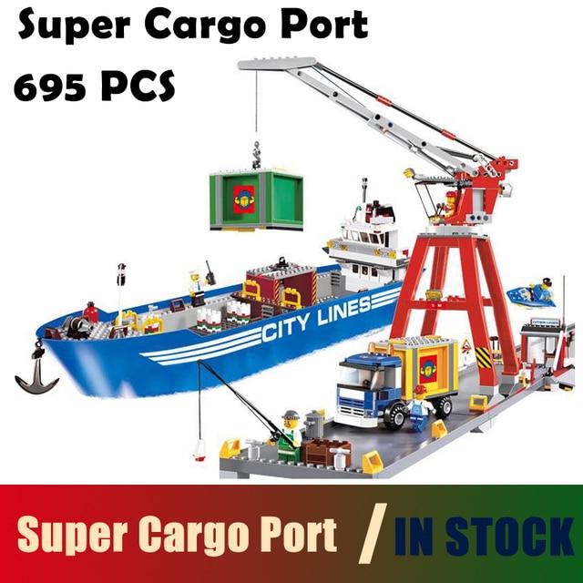 Compatible with lego City Model Building Blocks toys 02034 695pcs Super  Cargo Port Terminal Series 7994