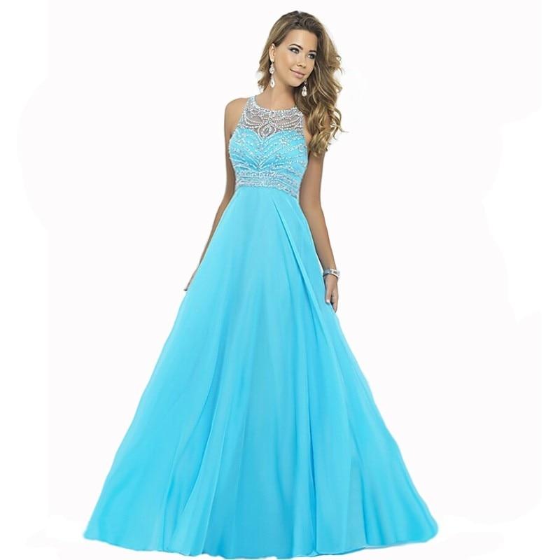Elegant Royal Blue Chiffon A Line Prom Dresses 2015 Halter Bandage ...