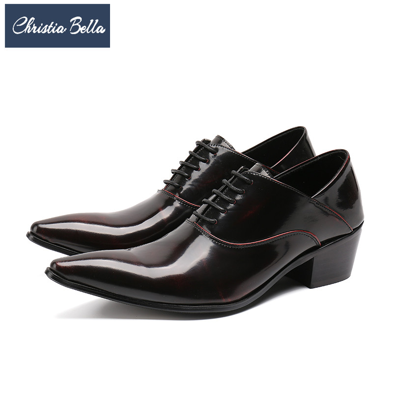 Christia Bella New Fashion Solid Genuine Leather Men Oxford Shoes Lace Up Brogue Shoes Plus Size Wedding Office Formal Shoes christia bella fashion men oxford shoes genuine leather black white business men dress shoes lace up office wedding formal shoes