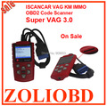 Top Selling 2017 Super VAG 3.0 ISCANCAR VAG KM IMMO OBD2 Code Scanner adjust mileage read immobilizer code super VAG v3.0 IMMO