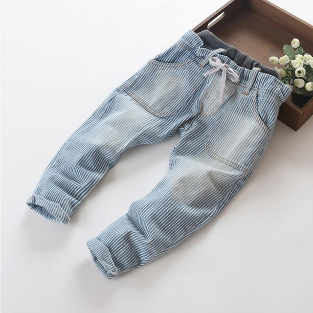 New Arrive fashion stripe design kids jeans double waist casual baby boys jeans 3-8 years children pants brand Freeshipping