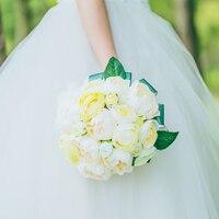 מותג חדש שנהב וצהוב צבע פרח זר כלה לחתונה קישוט DIY קישוט הבית רומנטי פרחים מלאכותיים רצועת כלים