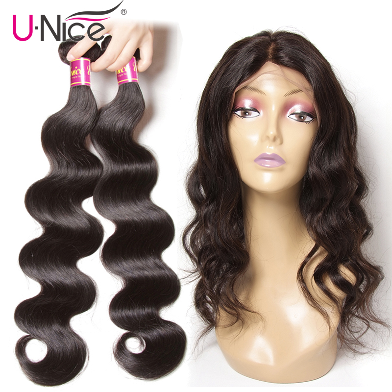 Unice Hair Body Wave Human Hair 2 Bundles With 360 Lace Frontal Closure Brazilian Hair Weave Bundles With Closure Hair Extension