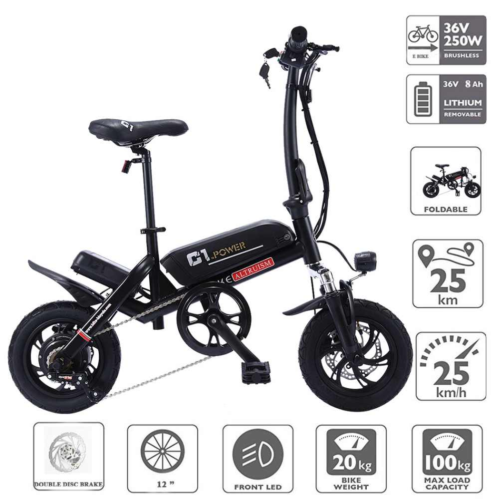 ALTRUISM C1 Smart Folding Electric Bike12inch Mini Electric Bicycle Ebike 36V Lithium Battery Super Mini E Bike 30km Maximum Bat