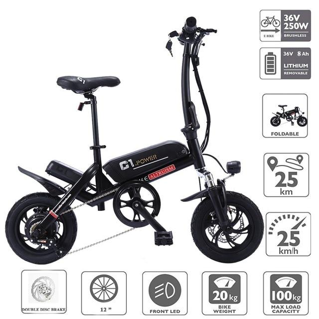 ALTRUISM C1 Умный складной электрический bike12 дюймов мини электрический велосипед Ebike 36 В литиевая батарея Супер Мини E велосипед 30 км Максимальная летучая мышь
