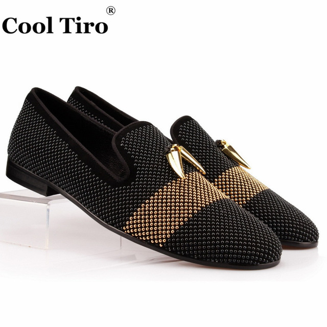 COOL TIRO Strass Rhinestones Men Loafers Black Suede Shark teeth Tassel Slippers Shoes Luxury Dress Flats Genuine Leather