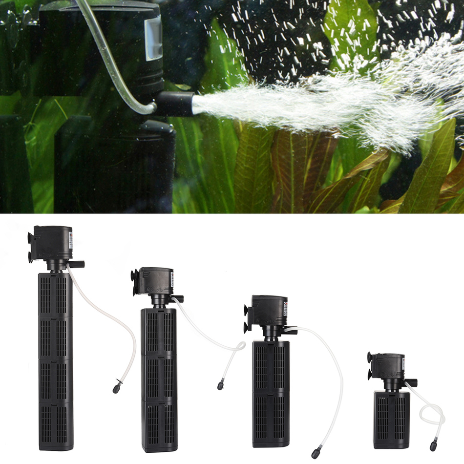 High Quality Mini 3 in 1 Multi-function Aquarium Filter Submersible Pump EU Plug Large Power Aquarium Purifier Water Tank Filter