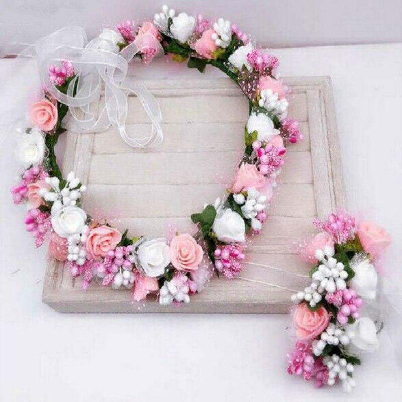 Artificial Flower Crown Wedding Bride Rose Foam Wreath Women Hair Accessories Fake Flower Headband Headpiece Floral Headwear
