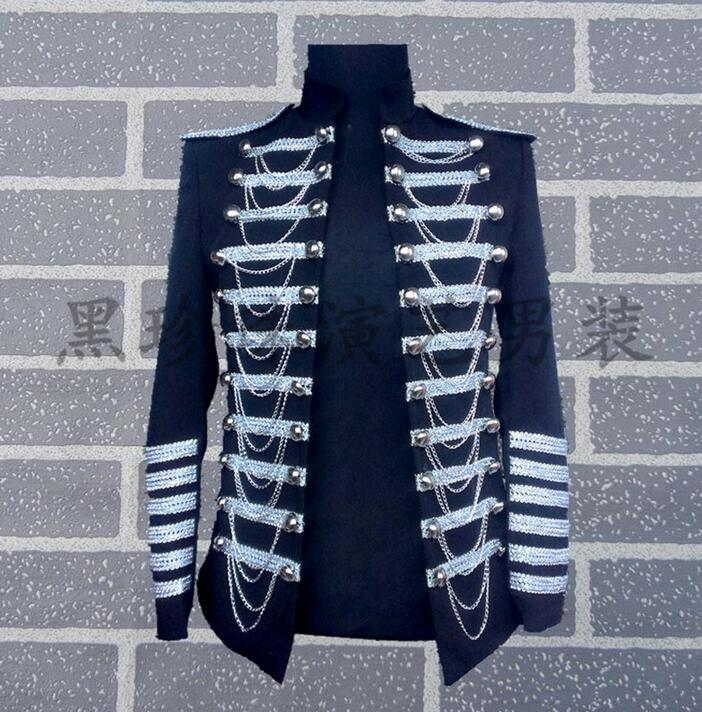 Men Royal Suits Designs Masculino Homme Stage Costumes For Singers Men Military Blazer Dance Clothes Jacket Star Style Dress