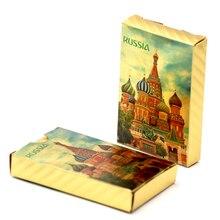 2018 Новинка Россия покер 24 K Золотая фольга игральные карты ПВХ пластиковые водонепроницаемые покерные карты стандартные игровые карты
