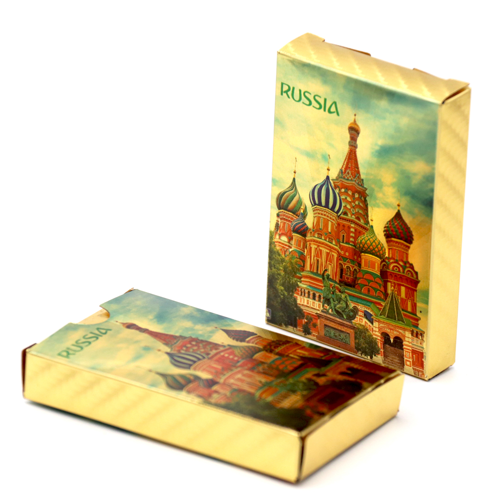 2020 New Russia Poker 24K Golden Foil Playing Cards PVC Plastic Waterproof Durable Poker Cards Standard Game cards