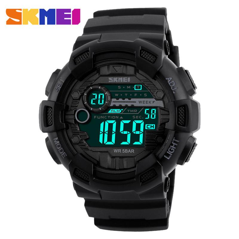Prix pour 2017 nouveau skmei 1243 homme sport montres numériques à la fois du temps horloge calendrier alarme rétro-éclairage étanche mode montres