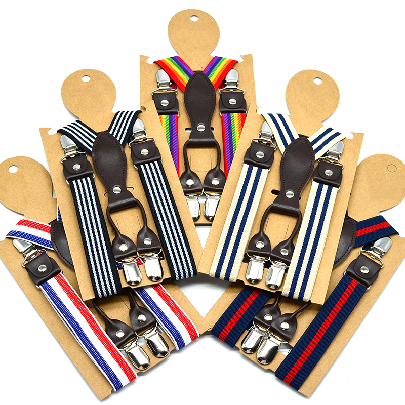 Popular Suspenders Kids Striped 4 Clips On Brace 80-130 Height 1-8 Years Y Shape Soft Material