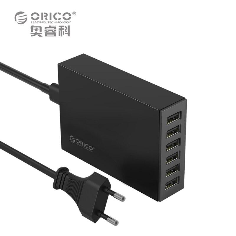 imágenes para Cargador USB 6 Puertos ORICO CSL-6U 5V2. 4A Por Puerto de LA UE o EE.UU. Enchufe Adaptador de Cargador de Escritorio 10A50W Salida Total-negro/Blanco