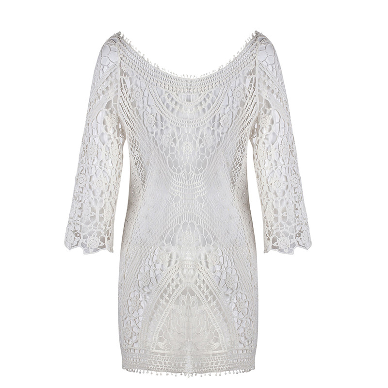 Beach Tunic Swimwear Pareo loose Dress Lace Crochet Swimsuit Cover Up Sarong Beachwear Women Bikini Cover-Up 2