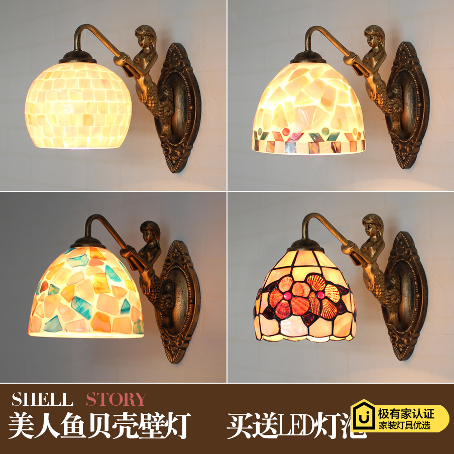 Mediterranean LED Tiffanylampe,Tiffany Mermaid Wall Lamp AC 110/220V E27  Shell Wall Lamps for Home Corridor Bedroom tiffany baroque sunflower stained glass iron mermaid wall lamp indoor bedside lamps wall lights for home ac 110v 220v e27