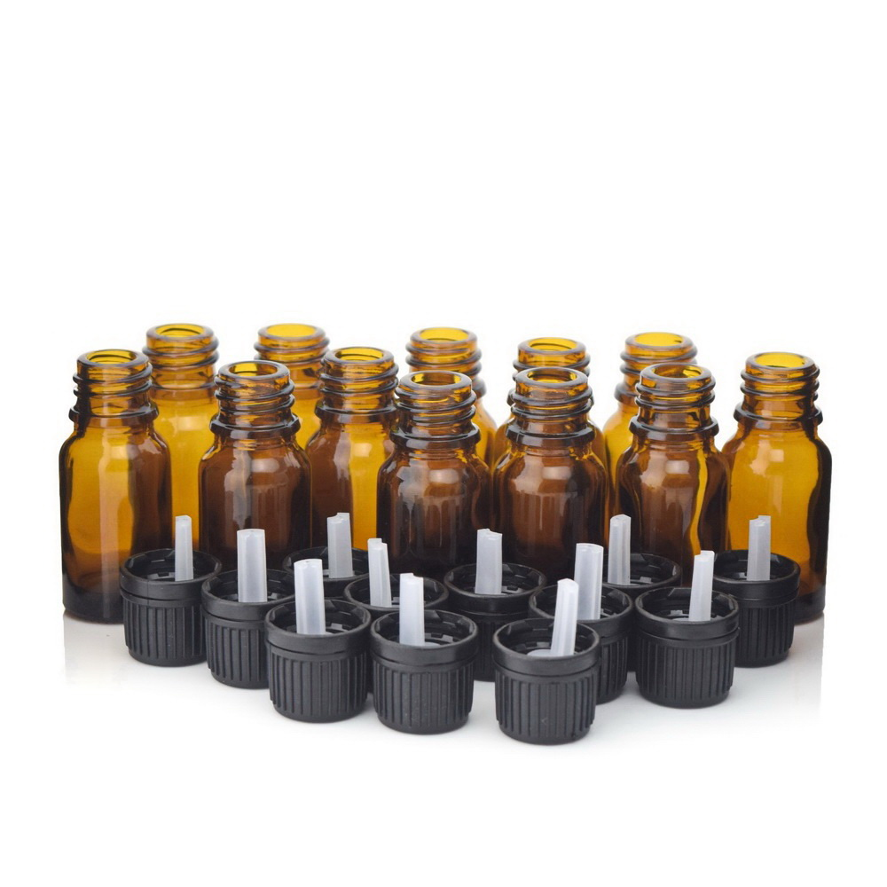 12pcs 1/3 Oz 10ml Amber Glass Bottles W/ Euro Dropper Orifice Reducer Black Tamper Evident Cap For Essential Oil Aromatherapy