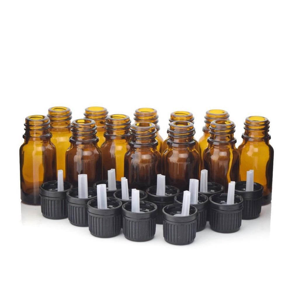 12pcs 1 3 Oz 10ml Amber Glass Bottles W Euro Dropper