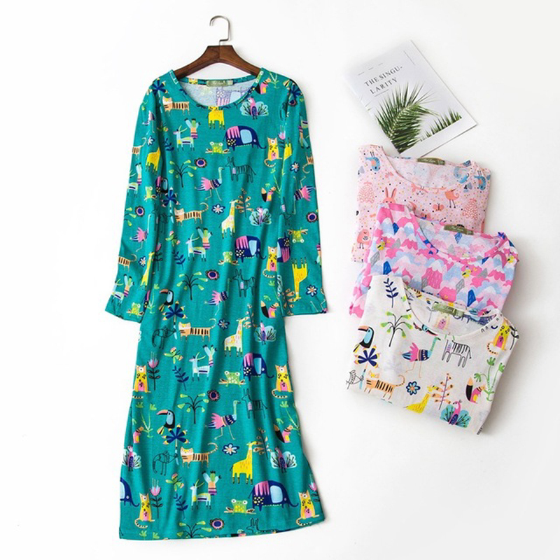 Comfortable cartoon sleepdress for women 100% cotton long-sleeved autumn   sleepshirts   women nightdress long   nightgown   plus size