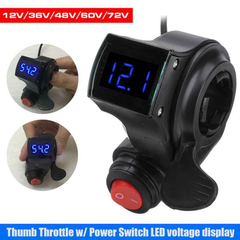 1 Set Electric Vehicle Voltage Display Switch Handle Finger Thumb Throttle Scooter with Power LED Display Handlebar Grips for E-