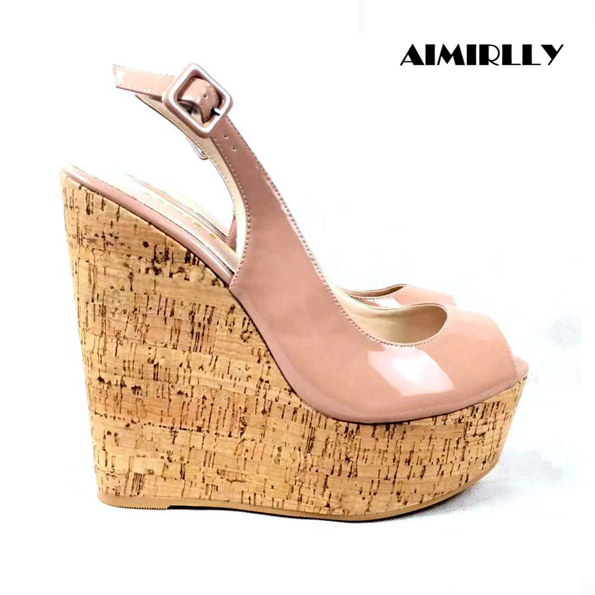 Aimirlly Platform Sandals Wedge-Heels Cork Summer Shoes Comfortable Nude Pumps Fashion