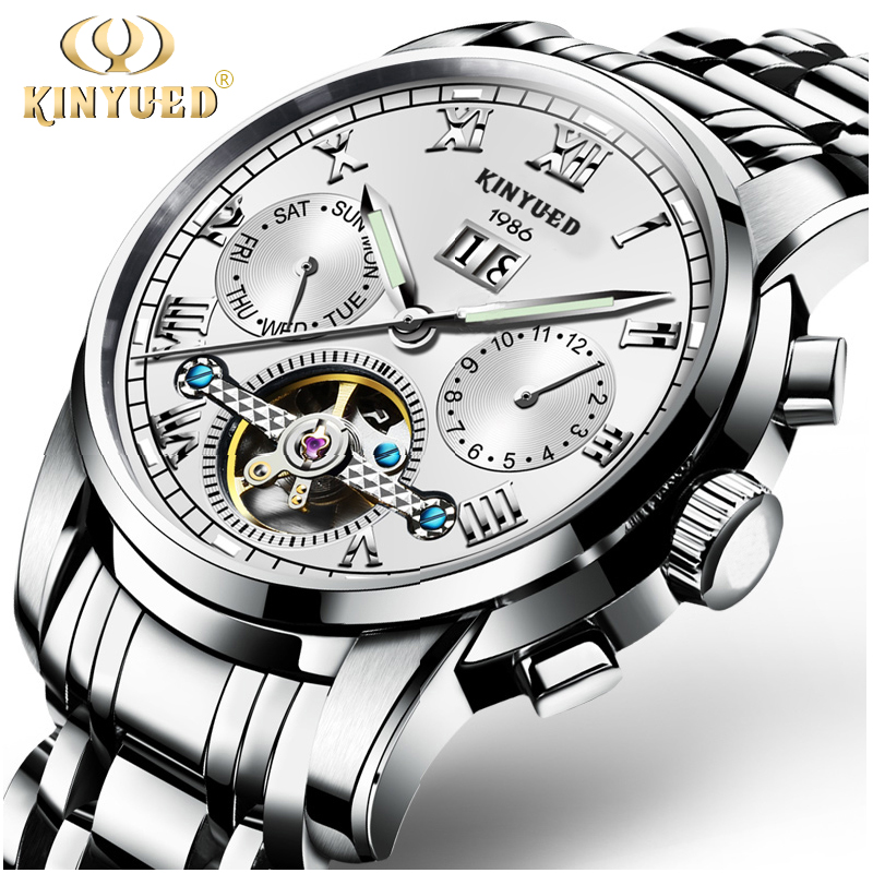KINYUED Automatic Mechanical Watches Mens Top Brand Luxury Stainless Steel Luminous Watch Men Waterproof Relogio Masculino tevise men black stainless steel automatic mechanical watch luminous analog mens skeleton watches top brand luxury 9008g