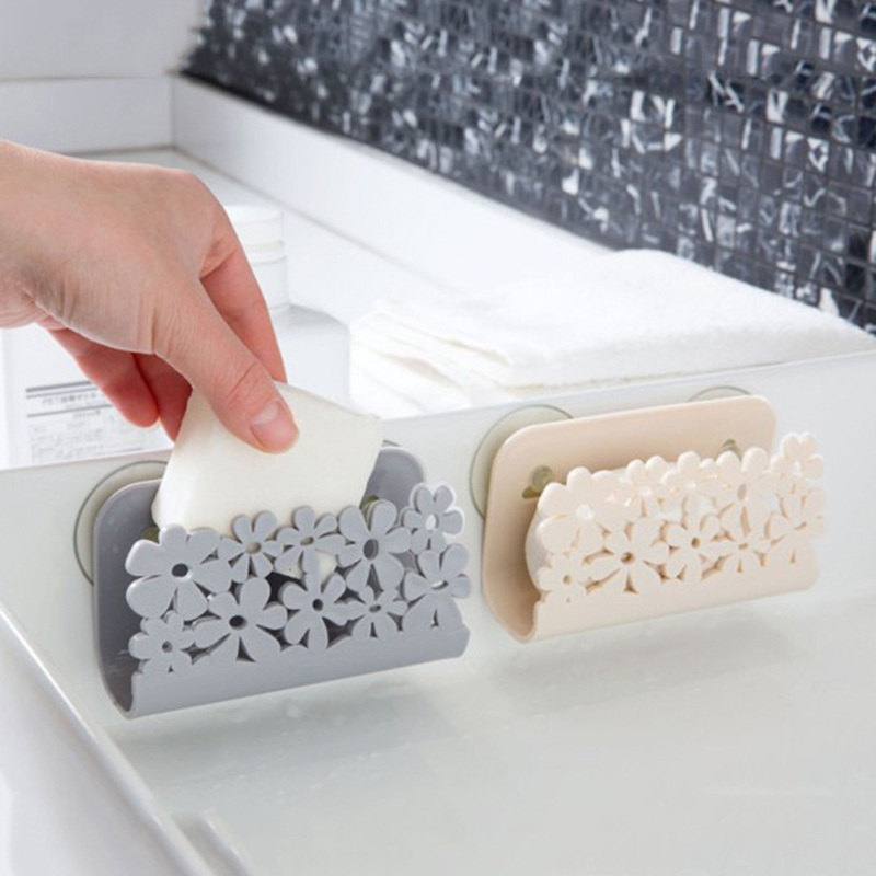 Sink Side Shelf Flower Pattern Sponge Storage Rack Bathroom Kitchen Storage Towel Soap Dish Holder Dishwashing Sponge Filter