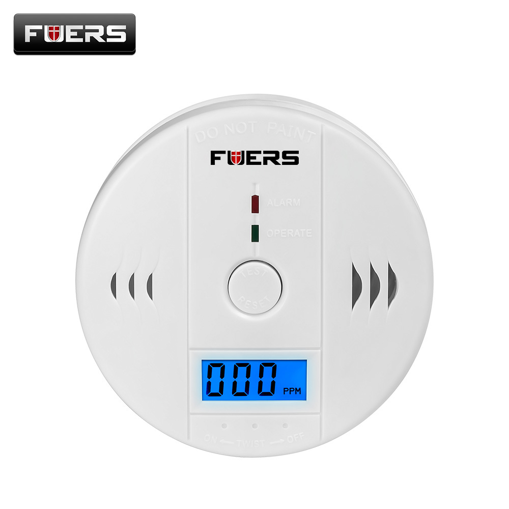 Fuers co Сенсор 85dB детекторы угарного газа ЖК-дисплей photoelectric независимых отравления Предупреждение сигнализации СО газа Сенсор детекторы