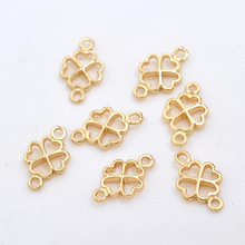 10PCS 7x12MM 24K Champagne Gold Color Plated Brass Lucky Flower Connect Charms High Quality Diy Jewelry Accessories