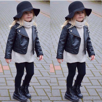 Fashion Cool Child Toddler Kids Girls Clothing Faux Leather Jacket 2-7 Zippered Thin Black Coats toddler