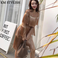 Autumn Women 2018 New Thai Tide Brand Temperament Cape Layer Tassel Long Sleeve Waist Straight Mini Gold Black Dress