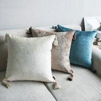 Capa para almofadas estilo europeu  capa de borlas  marfim  roxo  vermelho  azul  borlas  decoração de casa  sólida 45x4  5cm/60x60cm 6 cores