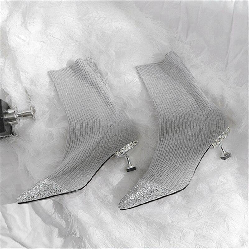 Stylesowner эластичный стрейч Для женщин каблуки носок сапоги Острый носок блестящие сапоги на высоком каблуке со стразами SequinedHeel Для женщин нос...