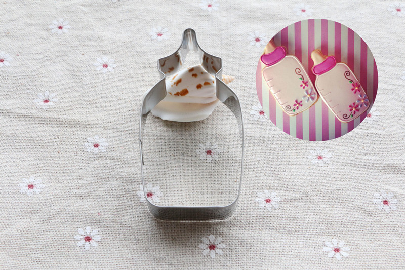 Stainless Steel Baby Milk Feeding Bottle Cookie Cutter Baking Pastry Stencils Cookie Biscuit Decorating Mold 1115