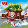 Kung fu banbao bloques de construcción de juguetes educativos para niños regalos para niños mini super hero arma templo hores estilo chino