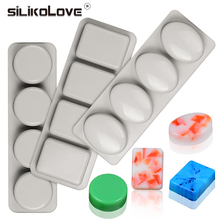 SILIKOLOVE 3Pcs/Set 3D Oval Square Round Soap Mold Reusable Silicone Molds for Making DIY Handmade Craft Form Mould