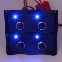 Auto 4 Gang Waterproof Car Auto Boat Marine LED Switch Panel Circuit Breakers Feb16