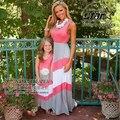 Novo 2016 família correspondência clothing vestido de mãe mãe e filha combinando nova marca verão outono praia estilo vestidos sem mangas