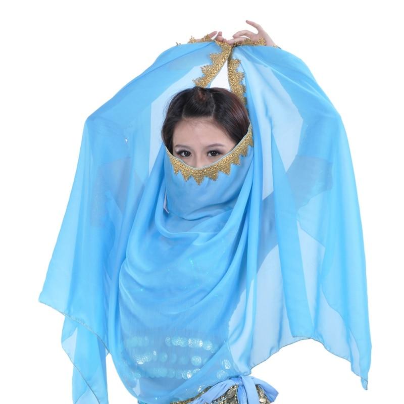 Women Belly Dance Chiffon Big Veil Shawl Skirt Sca