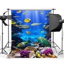 Mundo subaquático Backdrop Backdrops Fantasia Coral Do Aquário Peixe Luzes Da Bolha do Raio Do Mundo Do Mar Fundo
