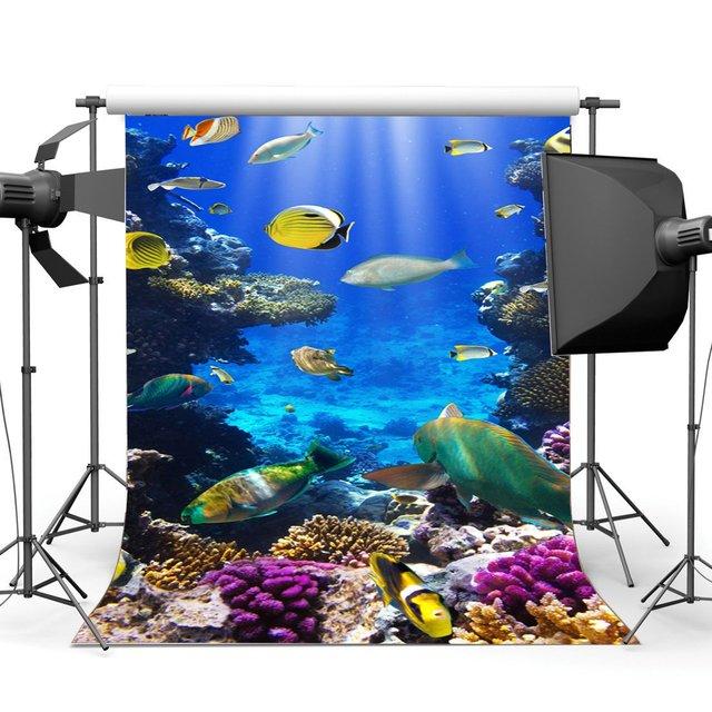 Underwater World Backdrop Aquarium Backdrops Fancy Coral Fish Lights Ray Bubble Sea World Background