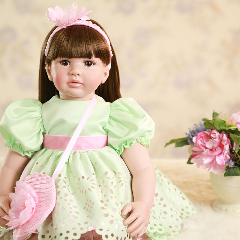 Dollmai coleção bebe renascer com corpo de silicone 58 cm boneca reborn boneca simulação do bebê casa brinquedos boneca bonito renascer menina b
