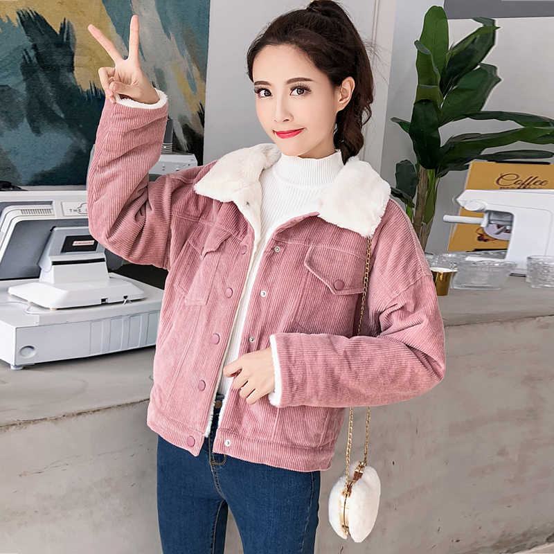 13a7aa04 Winter fur jackets women corduroy jacket thick cute outwear warm parka coat  female large size jacket