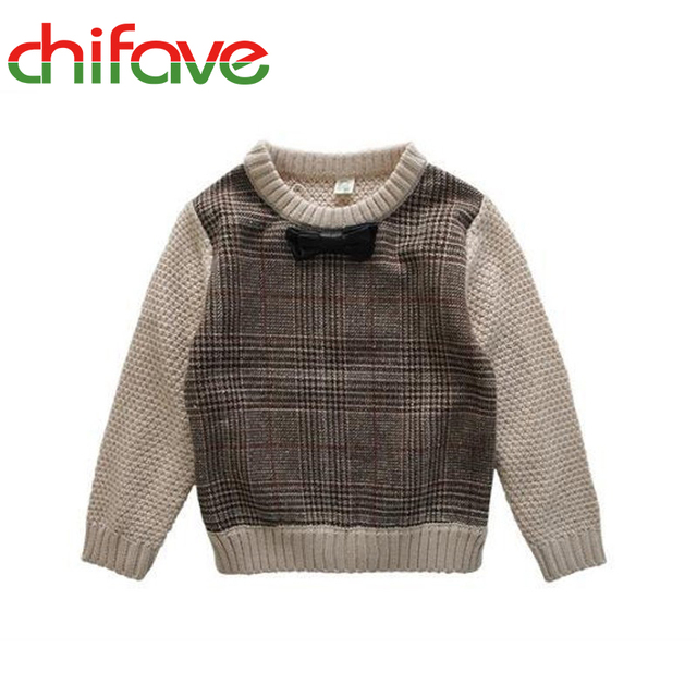 2016 Spring Kids Boys Sweater Children Fashion Pullover Sweater Boys Clothing Bow Decoration Sweater Boys Plaid Boys Sweater